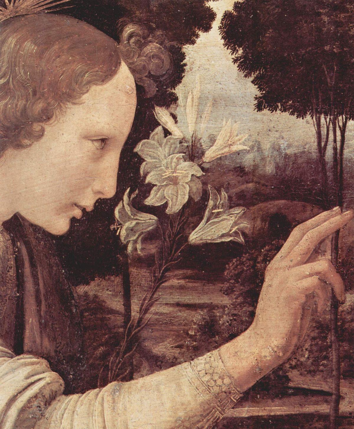 Леонардо до Винчи, «Благовещение» (фрагмент)